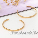 Milacolato 2 Pcs Stainless Steel Thin Cuff Bracelet 18K White/Rose/Yellow Gold Plated Oval Couples Love Bracelets Plain Open Cuff Bangle Jewelry Gift for Him and Her
