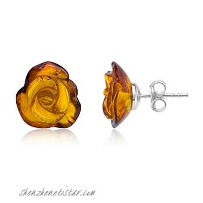Amber Sterling Silver Carved Rose Stud Earrings.