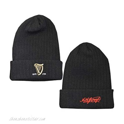 Guinness Knitted Ribbed Turn Up Beanie Hat With Embroidered Guinness Text And Signature