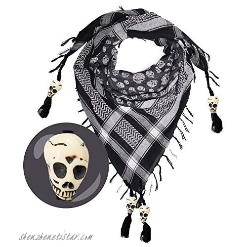 Skull Scarf for Men & Women - Desert Palestinian Shemagh Tactical Scarf - Black & White Cotton Square Arabic Neck Scarf - Pirate Bandana Head Wrap With Skulls - Halloween Gift & Goth Accessories