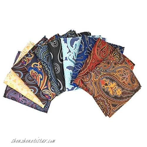 MENDENG Men's 10 Pack Paisley Geometric Assorted Pocket Square Silk Handkerchief