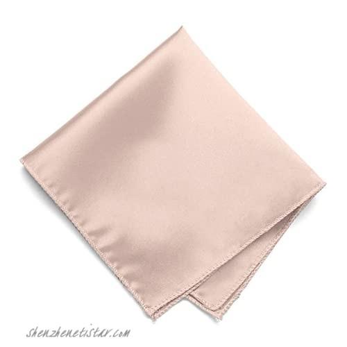 TieMart Blush Pink Solid Color Pocket Square