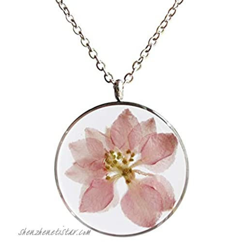 SI EASY Pressed Flower Pendant Necklace Real Dried Flower Resin Jewellery