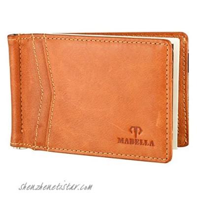MABELLA RFID Blocking Slim Minimalist Thin Bifold Wallet Front Pocket Money Clip for Men